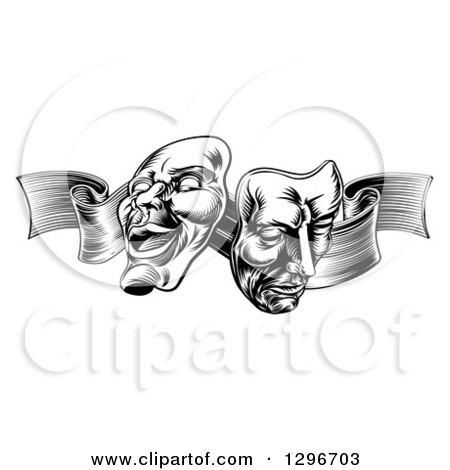 Clipart of Black and White Engraved Comedy and Tragedy Theater Masks on a Ribbon - Royalty Free Vector Illustration by AtStockIllustration
