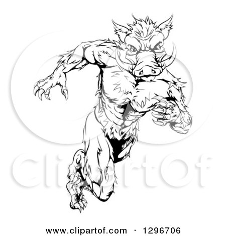 Clipart of a Black and White Sprinting Muscular Boar Man - Royalty Free Vector Illustration by AtStockIllustration