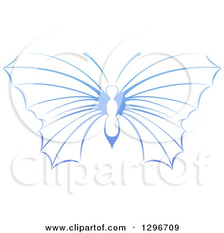 Clipart of a Gradient Blue Butterfly - Royalty Free Vector Illustration by AtStockIllustration