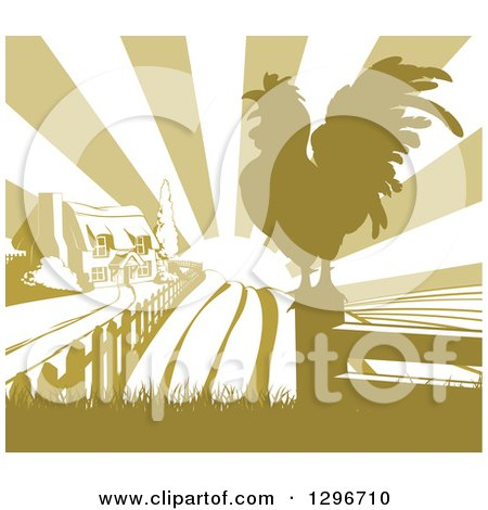 Clipart of a Sunrise over a Green Farm House, a Silhouetted Crowing Rooster and Fields - Royalty Free Vector Illustration by AtStockIllustration