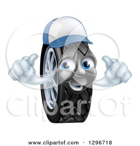 Clipart of a Happy Tire Character Wearing a Baseball Cap and Holding Two Thumbs up - Royalty Free Vector Illustration by AtStockIllustration