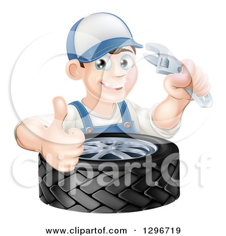 Clipart of a Happy Young Brunette White Mechanic Man Wearing a Baseball Cap, Holding a Wrench and Thumb up over a Tire - Royalty Free Vector Illustration by AtStockIllustration