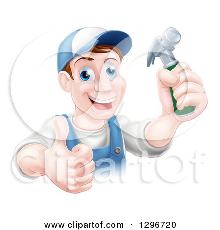 Happy Middle Aged Brunette Caucasian Worker Man Wearing a Baseball Cap, Holding a Hammer and Thumb up Posters, Art Prints