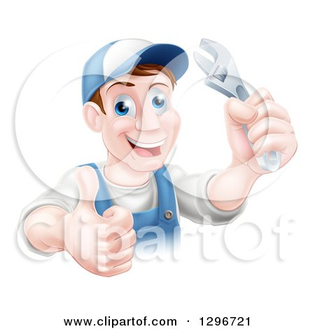 Happy Brunette Middle Aged Caucasian Mechanic Man Wearing a Baseball Cap, Holding a Wrench and Thumb up Posters, Art Prints