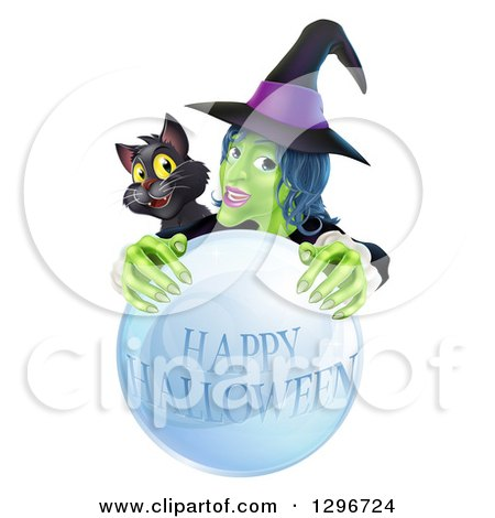 Clipart of a Green Witch and Black Cat Behind a Happy Halloween Crystal Ball - Royalty Free Vector Illustration by AtStockIllustration