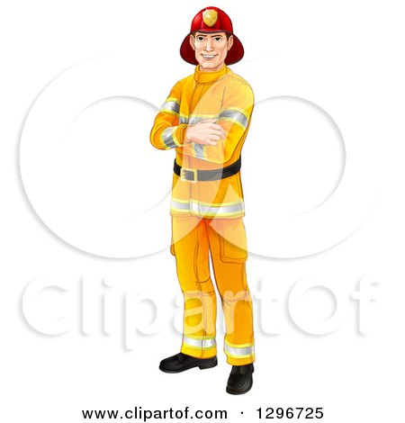 Clipart of a Handsome Caucasian Male Fireman Standing with Folded Arms - Royalty Free Vector Illustration by AtStockIllustration