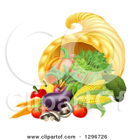 Clipart of a Thanksgiving Fall Cornucopia Horn of Plenty with Produce - Royalty Free Vector Illustration by AtStockIllustration