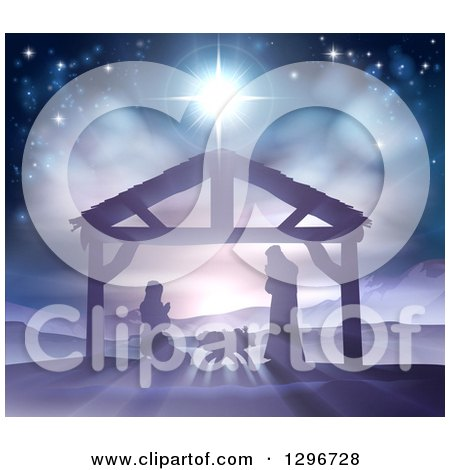 Clipart Of A Silhouetted Christmas Nativity Scene At The Manger With The Star Of Bethlehem Mary Joseph And Baby Jesus Royalty Free Vector Illustration