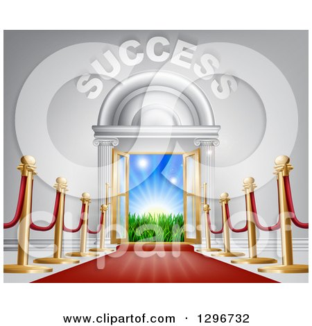 Clipart of a Red Carpet and Posts Leading to a Doorway with Bright Light, Grass and Opportunity Text - Royalty Free Vector Illustration by AtStockIllustration