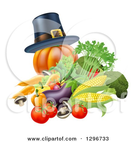 Clipart of a Thanksgiving Pumpkin with a Pilgrim Hat and Produce - Royalty Free Vector Illustration by AtStockIllustration