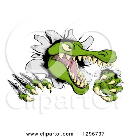 Clipart of a Snapping Alligator or Crocodile Head Slashing Through a Wall - Royalty Free Vector Illustration by AtStockIllustration