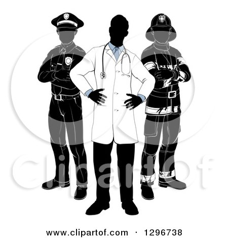 Clipart of a Faceless Doctor with a Black and White Policeman and Firefighter Posing - Royalty Free Vector Illustration by AtStockIllustration