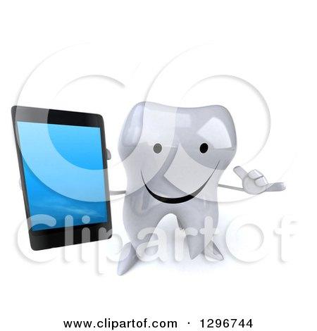 Clipart of a 3d Happy Tooth Character Holding up a Smart Phone and Gesturing Call Me - Royalty Free Illustration by Julos