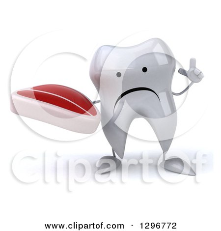 Clipart of a 3d Unhappy Tooth Character Holding up a Finger and a Beef Steak - Royalty Free Illustration by Julos