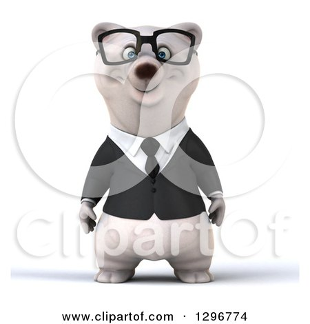 Clipart of a 3d Bespectacled Happy Business Polar Bear - Royalty Free Illustration by Julos