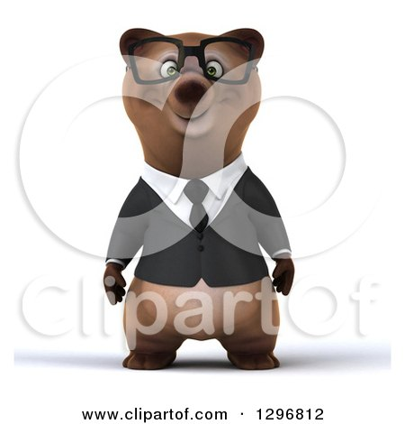 Clipart of a 3d Happy Bespectacled Brown Business Bear - Royalty Free Illustration by Julos
