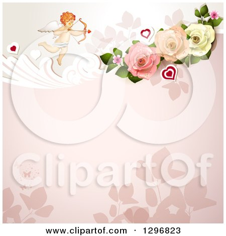 Clipart of a Floral Rose Valentine Background with Cupid and Hearts - Royalty Free Vector Illustration by merlinul