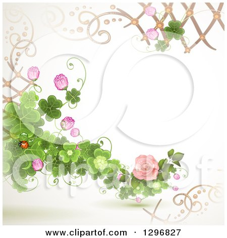 Clipart of a Floral Rose Wedding Background with Shamrock Clovers, Lattice and a Ladybug - Royalty Free Vector Illustration by merlinul