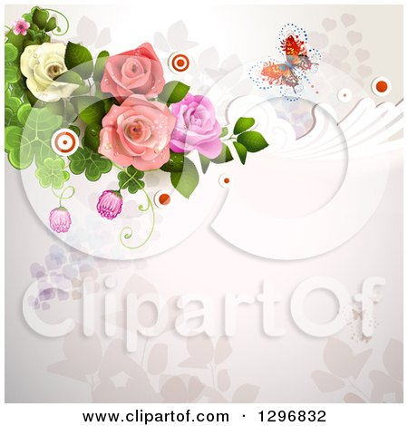 Clipart of a Floral Rose Wedding Background with a Buttefly Swirls Circles and Shamrocks - Royalty Free Vector Illustration by merlinul
