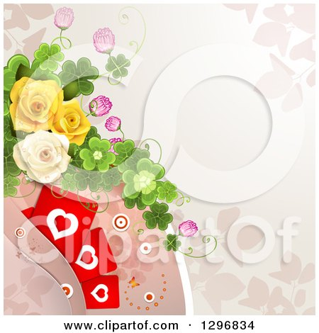 Clipart of a Floral Rose Background with Valentines Day Hearts, Shamrocks and Circles - Royalty Free Vector Illustration by merlinul