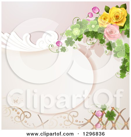 Clipart of a Floral Rose Wedding Background with Swirls Shamrocks and Lattice - Royalty Free Vector Illustration by merlinul