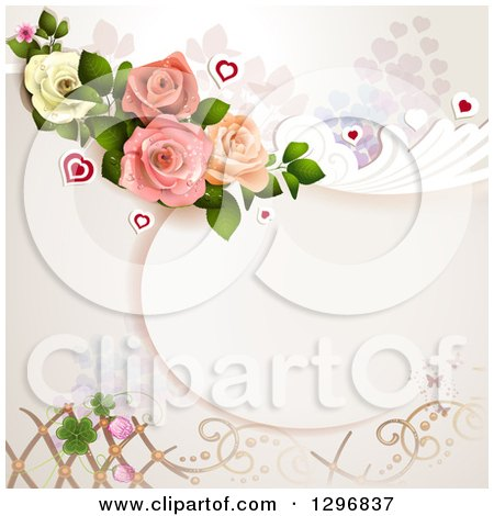 Clipart of a Floral Rose Wedding Background with Shamrocks Lattice and Hearts - Royalty Free Vector Illustration by merlinul