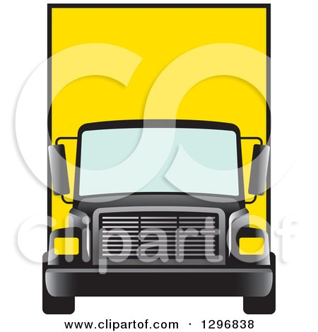 Clipart of a Yellow Moving Van or Big Right Truck - Royalty Free Vector Illustration by Lal Perera