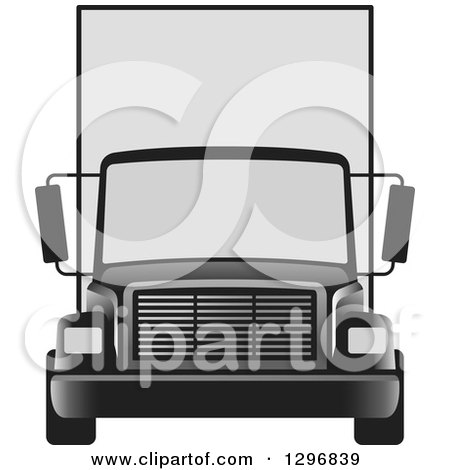 Clipart of a Grayscale Moving Van or Big Right Truck - Royalty Free Vector Illustration by Lal Perera