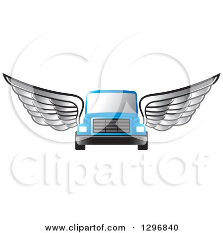 Clipart of a Silver Winged Blue Moving Van or Big Right Truck - Royalty Free Vector Illustration by Lal Perera
