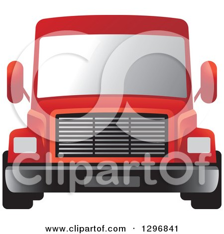 Clipart of a Red Moving Van or Big Right Truck - Royalty Free Vector Illustration by Lal Perera
