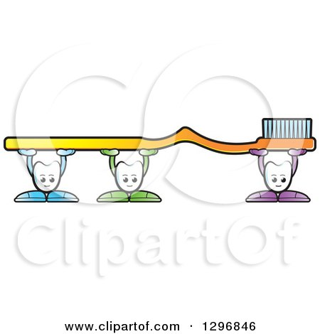 Clipart of Cartoon Tooth Characters Holding up a Giant Yellow Toothbrush - Royalty Free Vector Illustration by Lal Perera