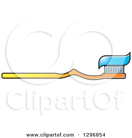 Clipart of a Cartoon Gradient Yellow Toothbrush with Paste - Royalty Free Vector Illustration by Lal Perera