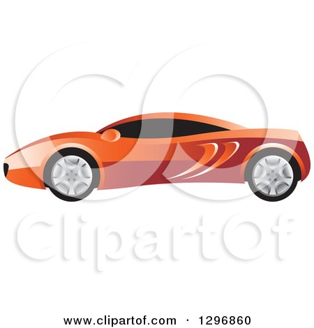 Clipart of a Profiled Red Sports Car - Royalty Free Vector Illustration by Lal Perera