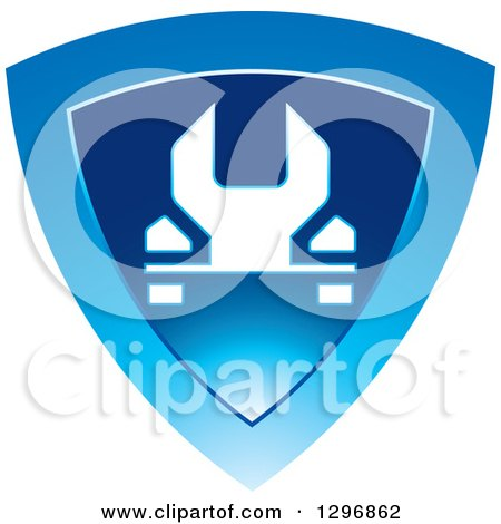 Clipart of a White Wrench in a Shiny Blue Shield - Royalty Free Vector Illustration by Lal Perera