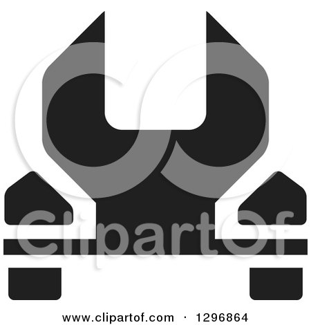 Clipart of a Black Wrench - Royalty Free Vector Illustration by Lal Perera