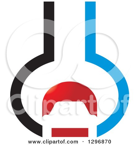 Clipart of a Red Black and Red Car in an Abstract Wrench - Royalty Free Vector Illustration by Lal Perera