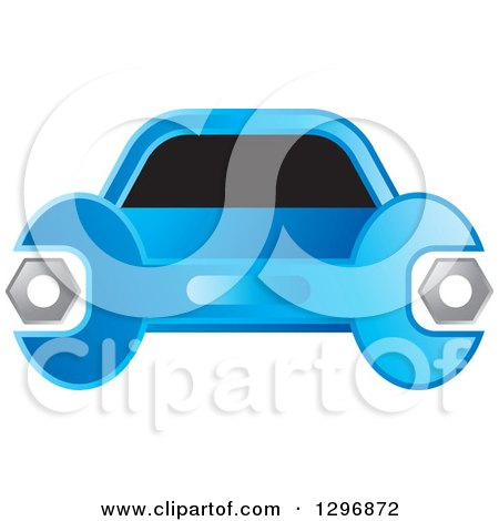 Clipart of a Blue Wrench and Car Logo - Royalty Free Vector Illustration by Lal Perera