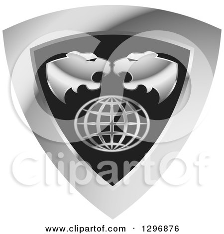 Clipart of Roaring Tiger Heads over a Grid Globe in a Silver and Black Shield - Royalty Free Vector Illustration by Lal Perera