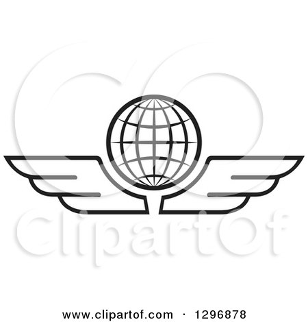 Clipart of a Black and White Grid Globe with Wings - Royalty Free Vector Illustration by Lal Perera