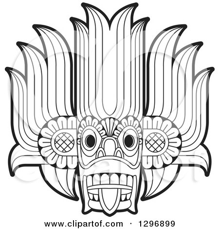 Clipart of a Black and White Devil Dance Mask - Royalty Free Vector Illustration by Lal Perera