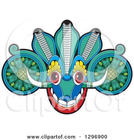 Clipart of a Devil Dance Mask with Horns - Royalty Free Vector Illustration by Lal Perera