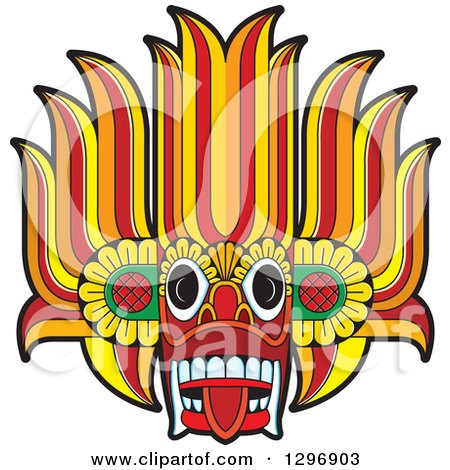 Clipart of a Devil Dance Mask - Royalty Free Vector Illustration by Lal Perera
