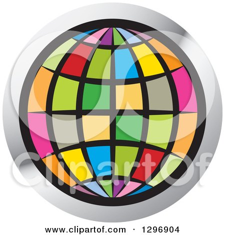 Clipart of a Colorful Grid Globe in a Silver Circle - Royalty Free Vector Illustration by Lal Perera