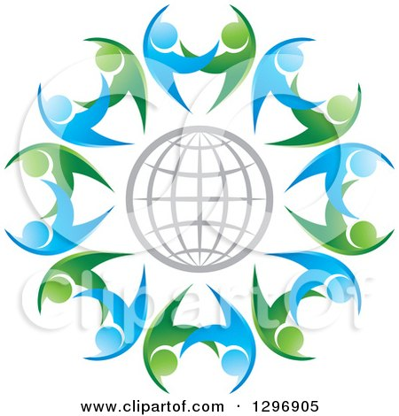 Clipart of a Gray Grid Globe Circled with Blue and Green Dancing or Protective People - Royalty Free Vector Illustration by Lal Perera