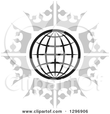 Clipart of a Black and White Grid Globe in a Circle of Gray Crowns - Royalty Free Vector Illustration by Lal Perera