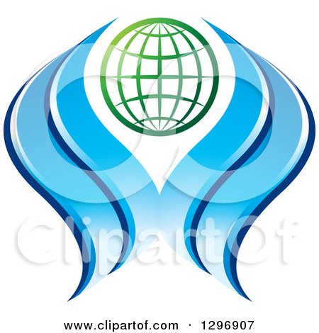 Clipart of a Gradient Green Grid Globe with Blue Waves, Water or Hands - Royalty Free Vector Illustration by Lal Perera