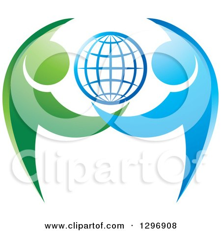 Clipart of a Grid Globe with Blue and Green Dancing or Protective People - Royalty Free Vector Illustration by Lal Perera
