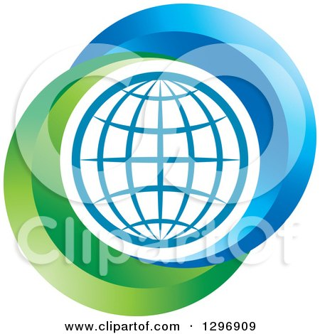 Clipart of a Grid Globe Inside Blue and Green - Royalty Free Vector Illustration by Lal Perera