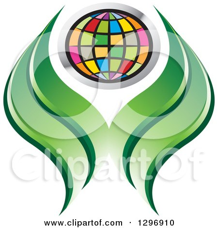 Clipart of a Colorful Grid Globe and Green Abstract Leaves or Hands - Royalty Free Vector Illustration by Lal Perera