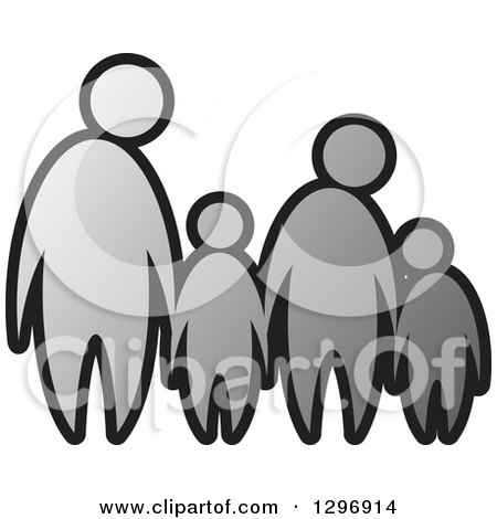 Clipart of a Grayscale Family of Four Holding Hands - Royalty Free Vector Illustration by Lal Perera